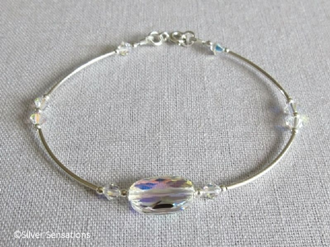 Elegant Bridal Bangle Bracelet With Rainbow Swarovski Crystals & Sterling Silver